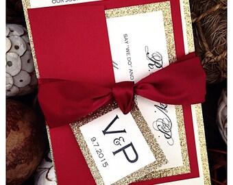 Christmas Wedding Invitations, Red and Gold Glitter Wedding Invitation with Monogram Ribbon