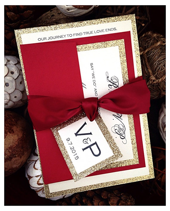 Red Wedding Invitations Red And Gold Glitter Wedding