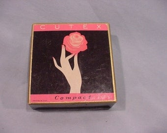 Vintage Advertisement Box for CUTEX Compact Hand with Rose