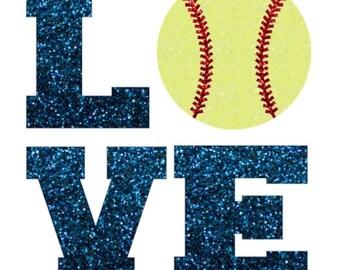 Glitter Softball LOVE Iron On, Softball LOVE Iron On Transfer, DIY Softball Shirt, Baseball Love Iron On, Heat Transfer