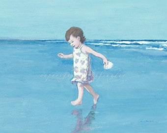 Beach card 5x7 girl running at the seashore, toddler, little girl, figures, ocean, children, shore, blue, seaside art, blank