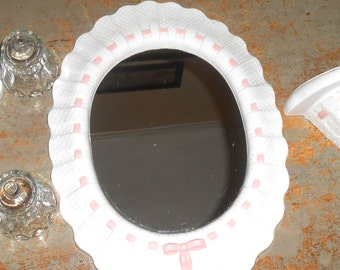 Vintage Mirror Set, Pink & White, Wall Sconce, Shelf,  Wall Mirror, Large Mirror, Plastic Mirror, Pink Ribbon, Candle Holders, Girl's room