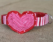 Valentine's Dog Collar - Pink and Red Stripe with Red and Pink Heart