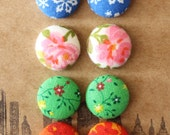 Button Earrings / 4 Seasons / Fabric Covered / 4 Pairs / Wholesale Jewelry / Summer / Autumn / Gifts for Her / Birthday Present / Small Stud