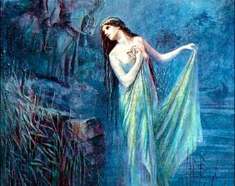 "Art by Speed Lancelot (1912) - ""The Lady Of The Lake."".  - Vintage Art, Story Book Art, Family Art, Children's Art"