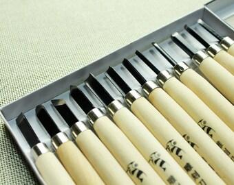 Rubber Graver Set - Carving Knife - Carver - DIY Rubber Stamp - Rubber Engraving - 12 Pcs included