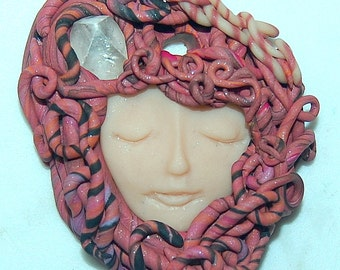 Quartz crystal Shamaness Sacred Women,Tribal Goddess Healer Woman Medusa Polymer Clay Art Pendant approx. 2 inches