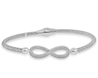 Sterling Silver Rhodium Plated with Infinity CZ Bangle - AZDEB-117DZ