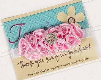 Satin Flower Headband, Pink Ruffle, White Satin Elastic -SHIPS FREE!