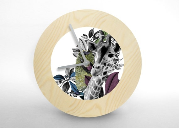 "Hey Fishy -  ""Graffe in forest""  art wall clock (Collage wall clock)"