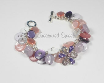 Purple and Pink Button Bracelet, Flower Bracelet, Button Charm Bracelet, Spring Bracelet, Easter Bracelet