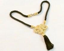 Vintage Black and Gold Crystal Swarovski Necklace Wedding Bridal