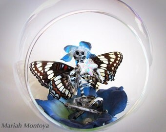 Fairy In A Terrarium - Blu (Made With Real Butterfly Wings)