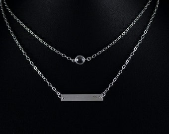 Double Layer Necklace. Silver Bar and Clear Crystal Layer Jewelry Set. Personalized Layer Style. Initial on Bar. Dainty Bridesmaid Gift.