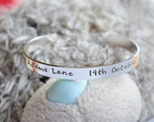 Christening cuff solid sterling silver personalised hand stamped