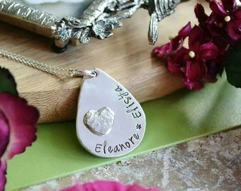 Silver dew drop hand cut personalized name pendant necklace