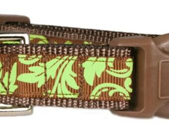 "Nature Dog Collar 3/4"" Brown Floral Vines Dog Collar"