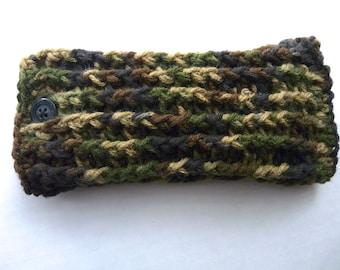 Mens unisex camo eye glasses or sun glasses crochet case fully lined camouflage eyeglasses case