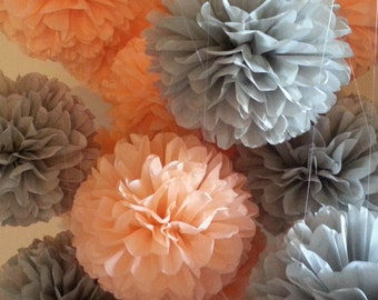 ON SALE...Tissue Paper Pom Poms - Set of 12 Medium Poms - Weddings//Reception//Bridal//Wedding Decor