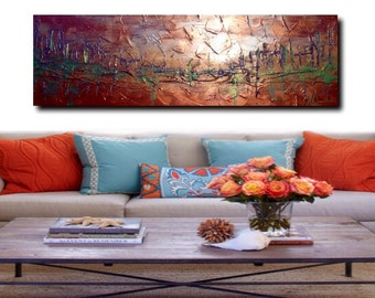 "Wall art, Abstract acrylic painting 14x41"" Large art Painting on Canvas Abstract Art Impasto Texture, City painting"