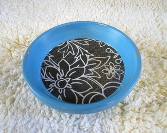Light Blue Floral Print Hand Painted Terra Cotta 5 inch Coaster Dish Home Decor
