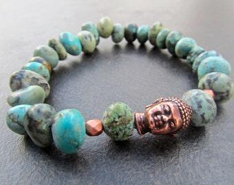 Turquoise Buddha Bracelet, Turquoise Stretch Bracelet, Natural African Turquoise Nuggets, Men's Bracelet, Unisex Stacking Bracelet  835