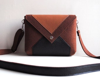 Brown Black Wool Felt Genuine Leather Messenger Crossbody Bag