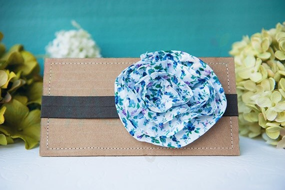 Ema Jane - Shabby Chic Headband (Time for Tea Vintage Floral Rosette on Charcoal Brown)