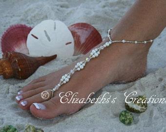 Barefoot Sandal - Simply Elegant, Wedding shoes, Bridal Shoes, Beach Wedding, Barefoot Sandals, Pearl Sandals, Destination Wedding, Mermaid