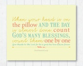 count God's many blessings one by one . Psalm 118:1 . blessing art print