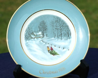 "1976 Avon Christmas Plate-""Bringing Home The Tree"" Collectible Plate"