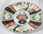 "Japanese Imari 11"" Oval Fluted Platter Hand Painted c.1920"