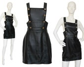 Versus by Gianni Versace 1990s Vintage Backless Leather Dress Black Silver-Tone Lionhead Buttons Signature Style Size 6 Small