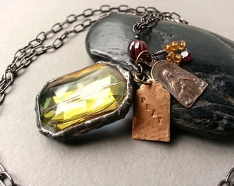 Charm Pendant Necklace Religious Medal Soldered Crystal Pray Rustic Gunmetal Oxidized Brass Bronze Long Necklace Green Red Amber Gemstones