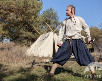 20% DISCOUNT! Men's Viking Pants with Wrappings; Linen Pants; Medieval Pants