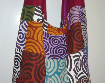 Hobo Cross Body Bag, Sling bag, Hobo Bag  Purse Thai Printed Cotton Patchwork