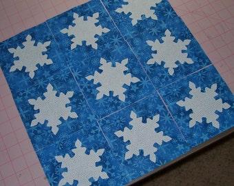 Set of 9 Snowflake Applique Quilt Blocks