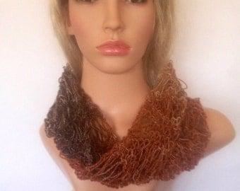 Ooak unique womens designer lace marble effect lightweight brown glitter hand knit/crocheted autum,winter cowl,scarf,infinity neckwarmer