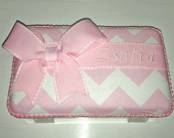 Personalized Pink Chevron Pencil Box / Pencil Case With Pink Ribbon And Bow.