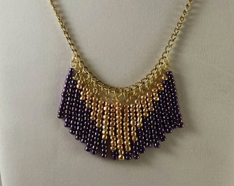 Purple and Gold Chevron Necklace