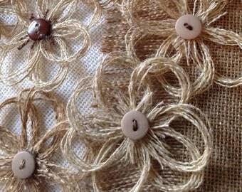 Rustic Burlap Flower Assortment of Neutral Colors with Button Center