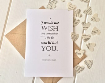 Shakespeare Quote Valentines Card with Paper Book Confetti - 'I would not wish any companion in the world but you'