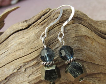 Pyrite and Crystal Earrings, Pyrite Nugget Earrings with Swarovski Elements