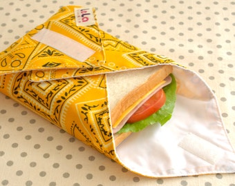 Reusable Sandwich Wrap, Reusable Fabric Lunch Wrap, Eco friendly Sandwich Wrap, Cotton Sandwich Wrap, Lunch Place mat, Yellow Bandana