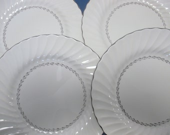 Homer Laughlin China Arcadia Pattern Scalloped Edge Fluted Swirl Platinum Victoria Shape V100 - Dinner Plates - Set of 4 (6 Sets Available)