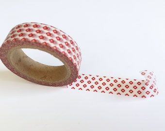 Red Tiny Diamond Check Washi Tape - 15mm single roll