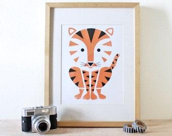 Tiger Art Print- Screenprint- Kids Art