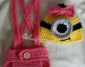 Newborn Minion Set, Minion Beanie, Suspenders, Diaper Cover, Minion Photography Prop, Minion Costume, Minion Hat, Crochet Minion set