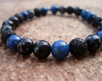 Lava Bracelet, Blue Lapis Bracelet, Stackable Bracelets, Gemstone Bracelet, Mens Jewelry, Stretch Bracelet, Beaded Bracelet, Womens Bracelet