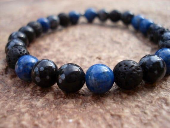 Lava Bracelet, Blue Lapis Bracelet, Stackable Bracelets, Gemstone Bracelet, Mens Jewelry, Stretch Bracelet, Beaded Bracelet, Womens Bracelet